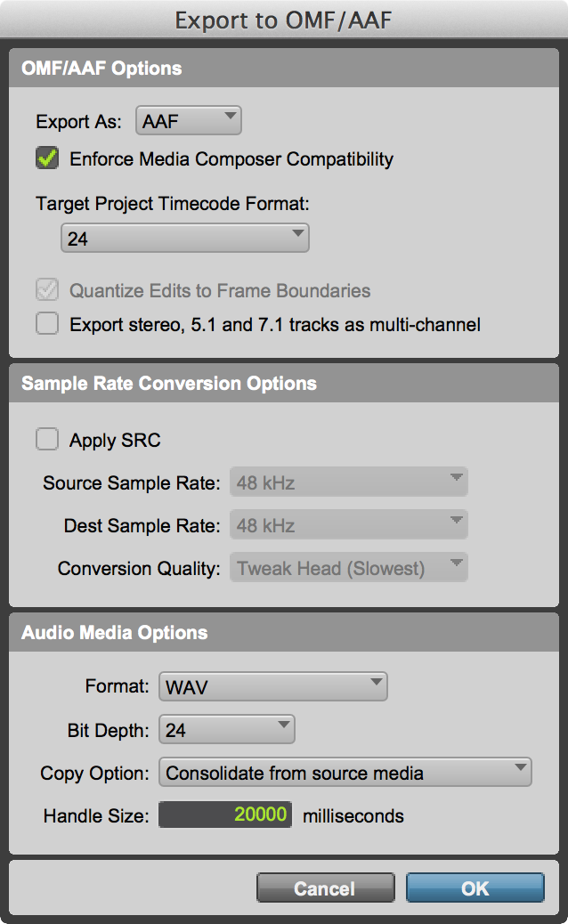 Clip Gain & Clip Mute Export in Linked AAF
